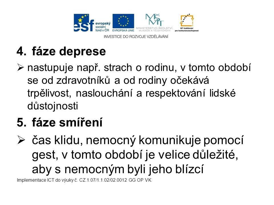 4.fáze deprese  nastupuje např. strach o rodinu, v tomto období se od zdravotníků a od rodiny očekává trpělivost, naslouchání a respektování lidské d