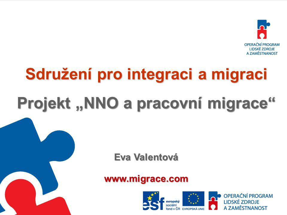 """Sdružení pro integraci a migraci Projekt """"NNO a pracovní migrace"""" Eva Valentová www.migrace.com"""