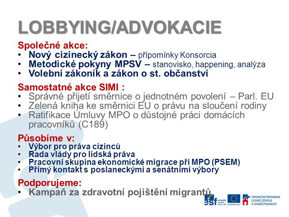 NETWORKING Členství: Konsorcium NNO pracujících s migranty PICUM, MPG, ENAR CZ, UNITED, RN-DWR (nový) Nová partnerství: ComuniDária (Lisabon) Filipínsko-česká asociace (Praha) Retail Project Action.