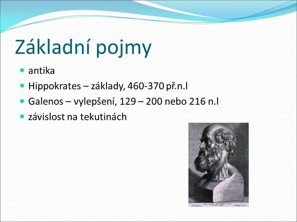 Základní pojmy antika Hippokrates – základy, 460-370 př.n.l Galenos – vylepšení, 129 – 200 nebo 216 n.l závislost na tekutinách