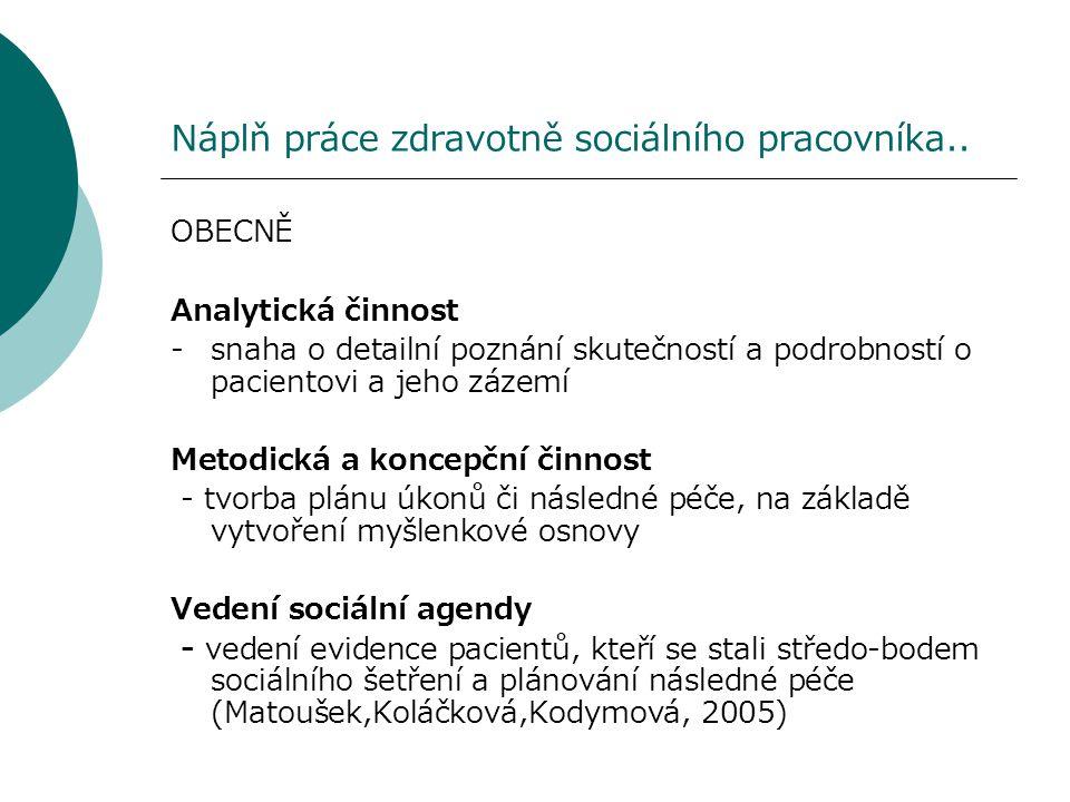 Náplň práce zdravotně sociálního pracovníka.. OBECNĚ Analytická činnost - snaha o detailní poznání skutečností a podrobností o pacientovi a jeho zázem