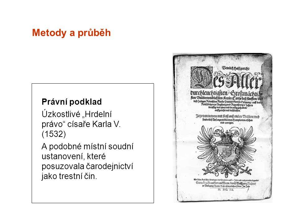 """Metody a průběh Právní podklad Úzkostlivé """"Hrdelní právo císaře Karla V."""