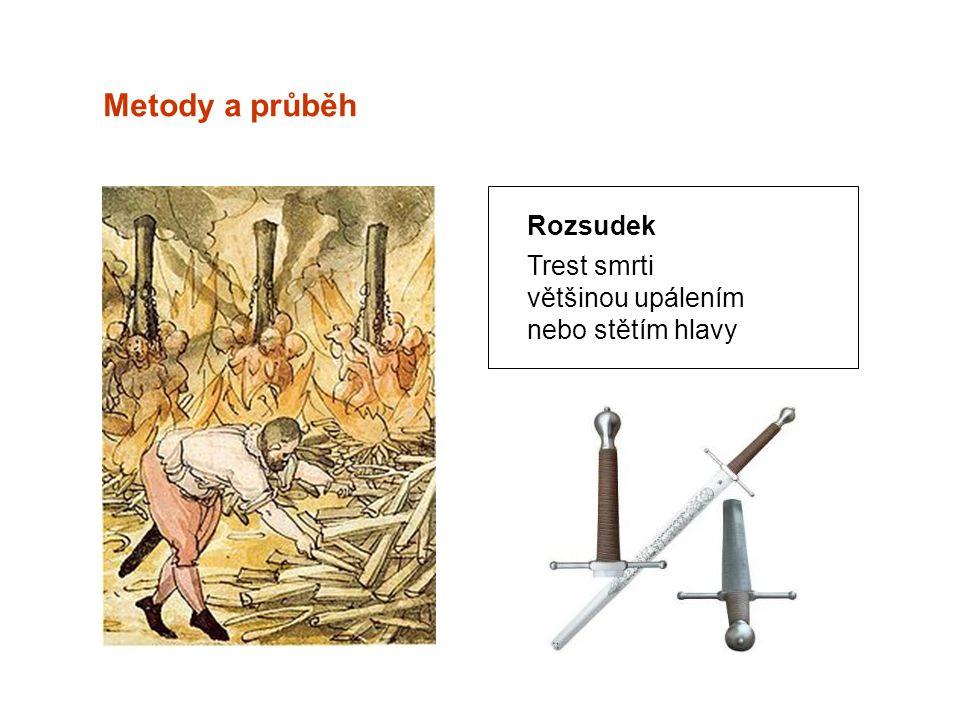Metody a průběh Rozsudek Trest smrti většinou upálením nebo stětím hlavy
