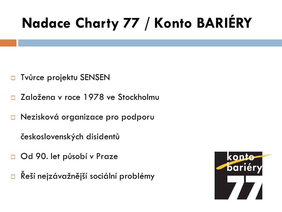 Nadace Charty 77 / Konto BARIÉRY Projekty  Konto BARIÉRY  Konto Míša  Počítače proti bariérám  Aukční salon českých výtvarníků  Sport bez bariér  Nový start  SENSEN