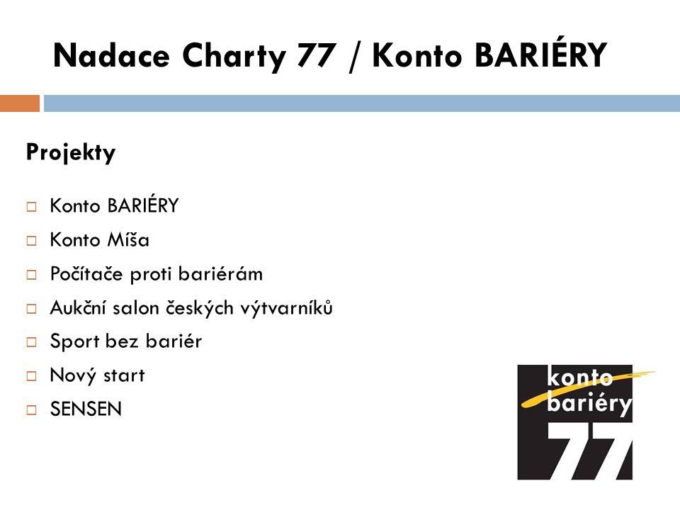 Nadace Charty 77 / Konto BARIÉRY Projekty  Konto BARIÉRY  Konto Míša  Počítače proti bariérám  Aukční salon českých výtvarníků  Sport bez bariér