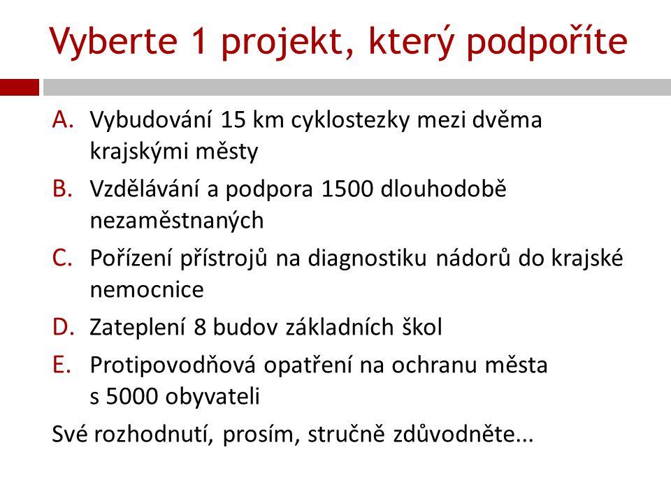 Vyberte 1 projekt, který podpoříte A. Vybudování 15 km cyklostezky mezi dvěma krajskými městy B. Vzdělávání a podpora 1500 dlouhodobě nezaměstnaných C