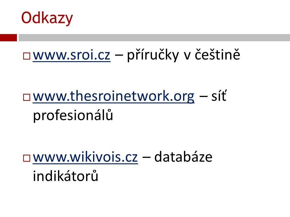 Odkazy  www.sroi.cz – příručky v češtině www.sroi.cz  www.thesroinetwork.org – síť profesionálů www.thesroinetwork.org  www.wikivois.cz – databáze