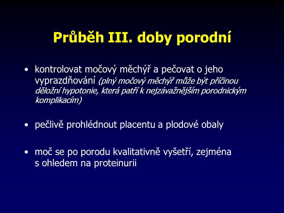 Průběh III. doby porodní kontrolovat močový měchýř a pečovat o jeho vyprazdňování (plný močový měchýř může být příčinou děložní hypotonie, která patří