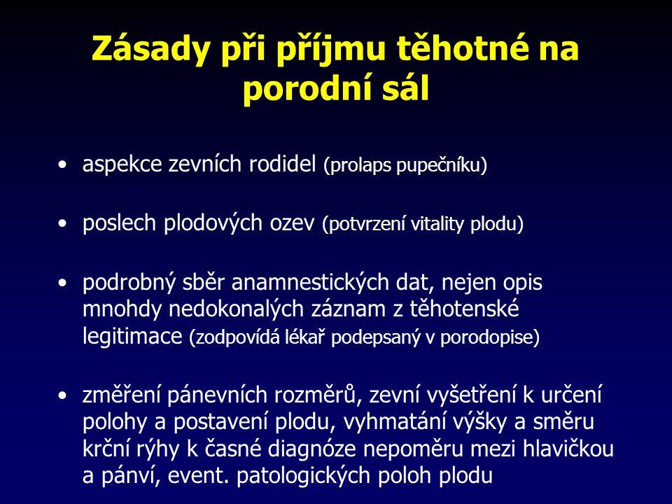 Zásady při příjmu těhotné na porodní sál aspekce zevních rodidel (prolaps pupečníku) poslech plodových ozev (potvrzení vitality plodu) podrobný sběr a