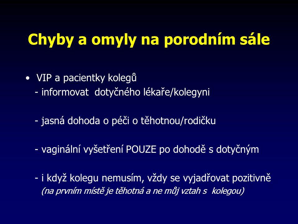 Chyby a omyly na porodním sále VIP a pacientky kolegů - informovat dotyčného lékaře/kolegyni - jasná dohoda o péči o těhotnou/rodičku - vaginální vyšetření POUZE po dohodě s dotyčným - i když kolegu nemusím, vždy se vyjadřovat pozitivně (na prvním místě je těhotná a ne můj vztah s kolegou)