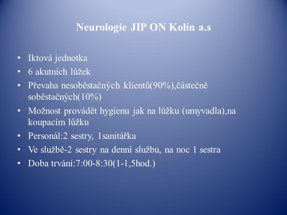Neurologie JIP ON Kolín a.s Iktová jednotka 6 akutních lůžek Převaha nesoběstačných klientů(90%),částečně soběstačných(10%) Možnost provádět hygienu j