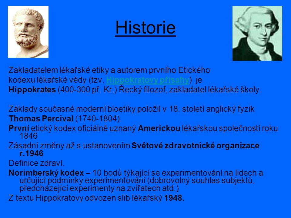 Historie Zakladatelem lékařské etiky a autorem prvního Etického kodexu lékařské vědy (tzv.