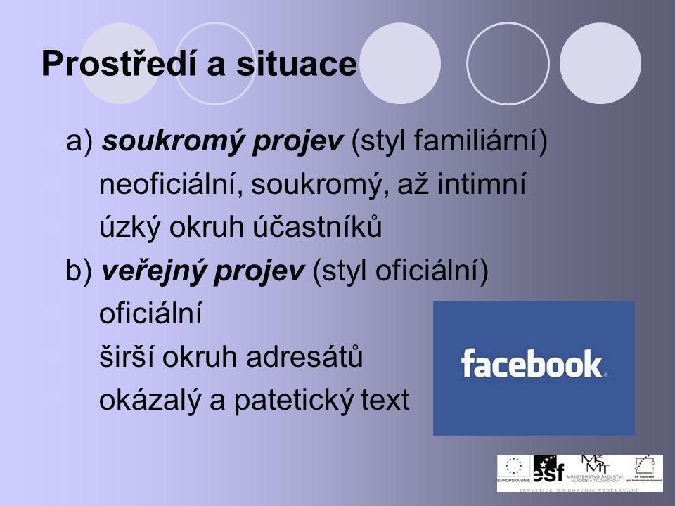 Prostředí a situace a) soukromý projev (styl familiární) neoficiální, soukromý, až intimní úzký okruh účastníků b) veřejný projev (styl oficiální) ofi