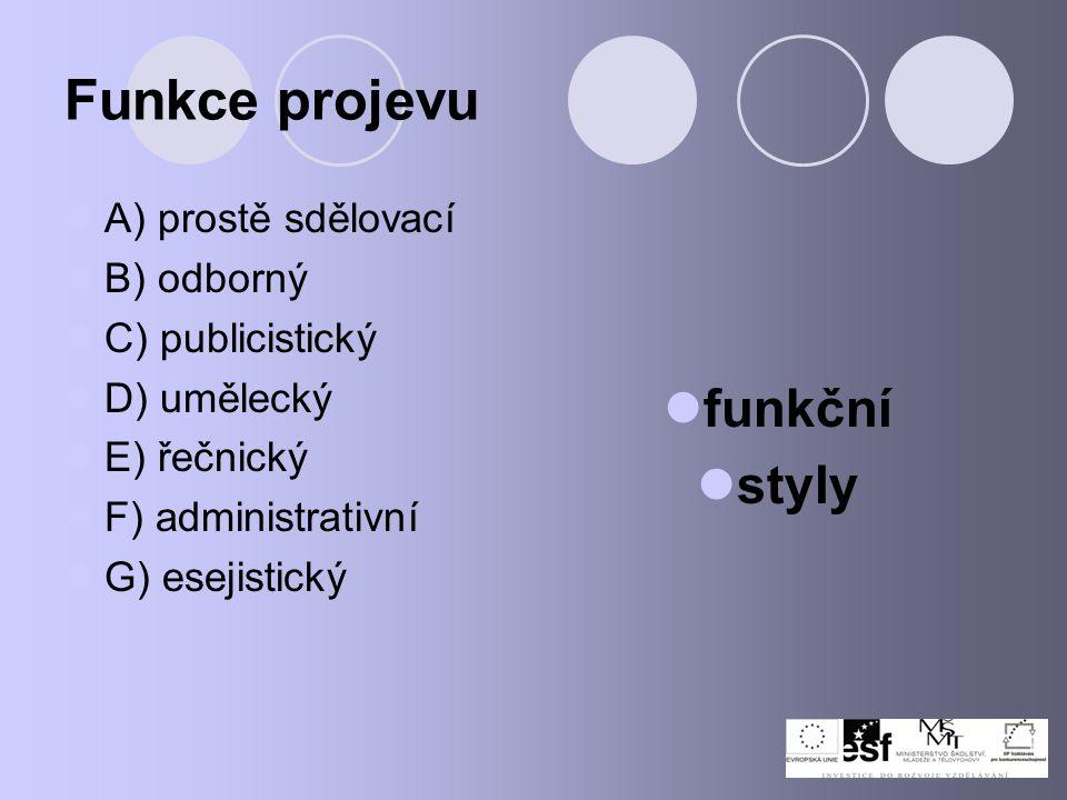 Funkce projevu A) prostě sdělovací B) odborný C) publicistický D) umělecký E) řečnický F) administrativní G) esejistický funkční styly