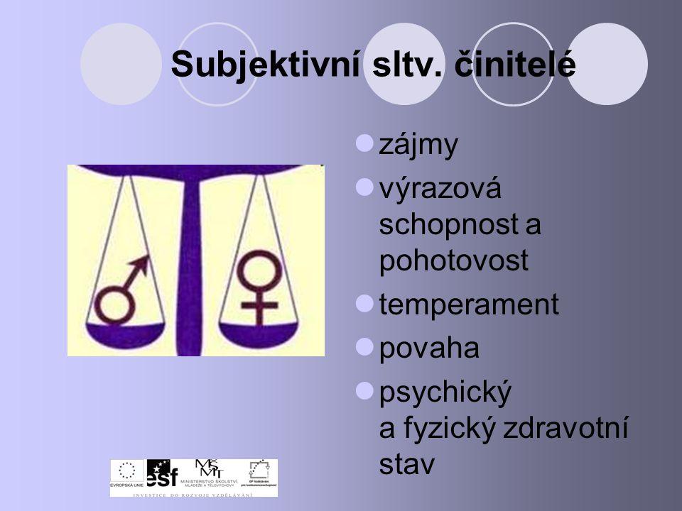Subjektivní sltv. činitelé zájmy výrazová schopnost a pohotovost temperament povaha psychický a fyzický zdravotní stav