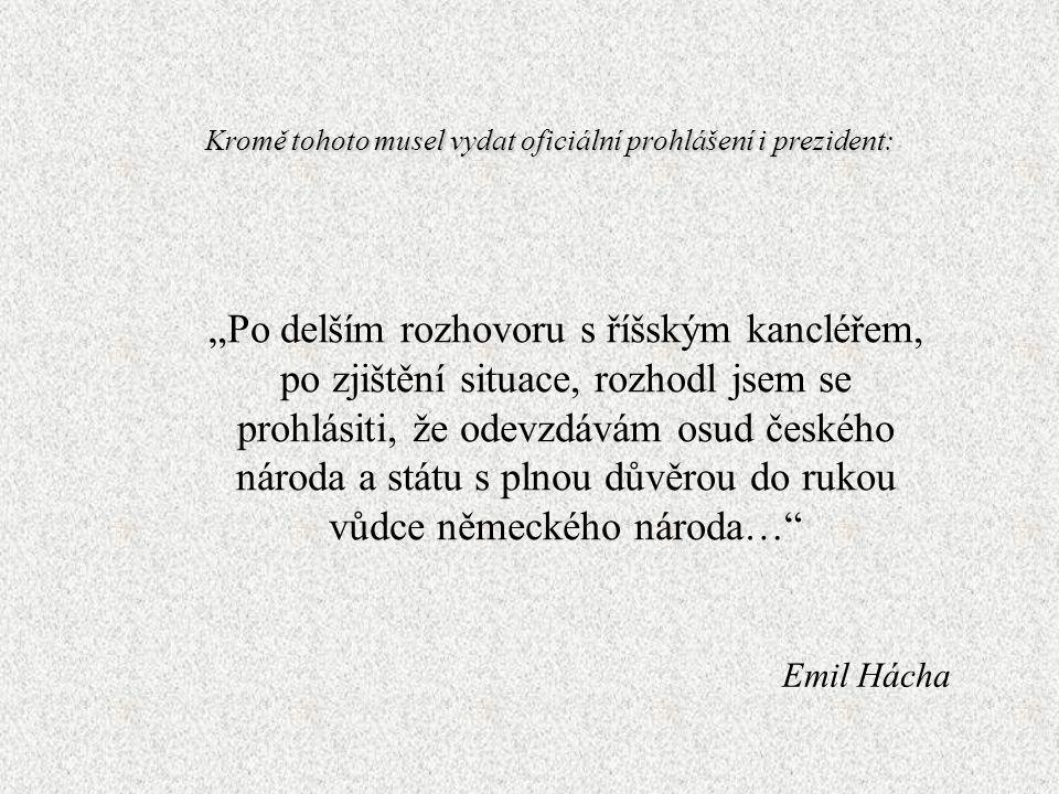 Osudová slova 15. března 1939