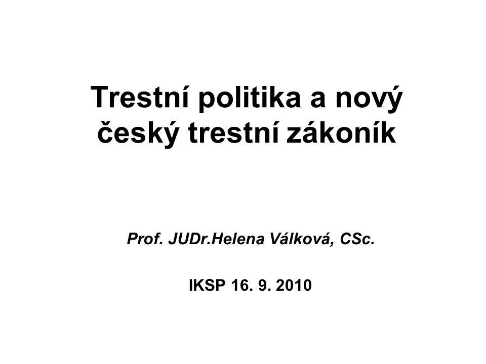 Trestní politika a nový český trestní zákoník Prof. JUDr.Helena Válková, CSc. IKSP 16. 9. 2010