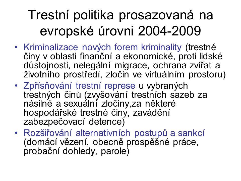 Trestní politika prosazovaná na evropské úrovni 2004-2009 Kriminalizace nových forem kriminality (trestné činy v oblasti finanční a ekonomické, proti lidské důstojnosti, nelegální migrace, ochrana zvířat a životního prostředí, zločin ve virtuálním prostoru) Zpřísňování trestní represe u vybraných trestných činů (zvyšování trestních sazeb za násilné a sexuální zločiny,za některé hospodářské trestné činy, zavádění zabezpečovací detence) Rozšiřování alternativních postupů a sankcí (domácí vězení, obecně prospěšné práce, probační dohledy, parole)