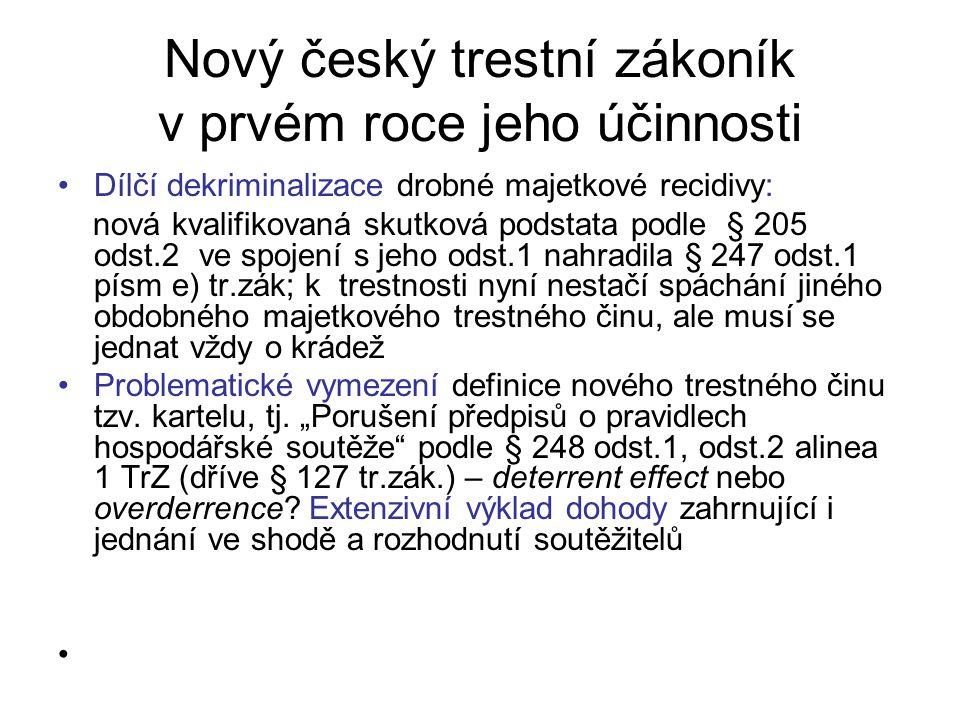 Nový český trestní zákoník v prvém roce jeho účinnosti Dílčí dekriminalizace drobné majetkové recidivy: nová kvalifikovaná skutková podstata podle § 205 odst.2 ve spojení s jeho odst.1 nahradila § 247 odst.1 písm e) tr.zák; k trestnosti nyní nestačí spáchání jiného obdobného majetkového trestného činu, ale musí se jednat vždy o krádež Problematické vymezení definice nového trestného činu tzv.