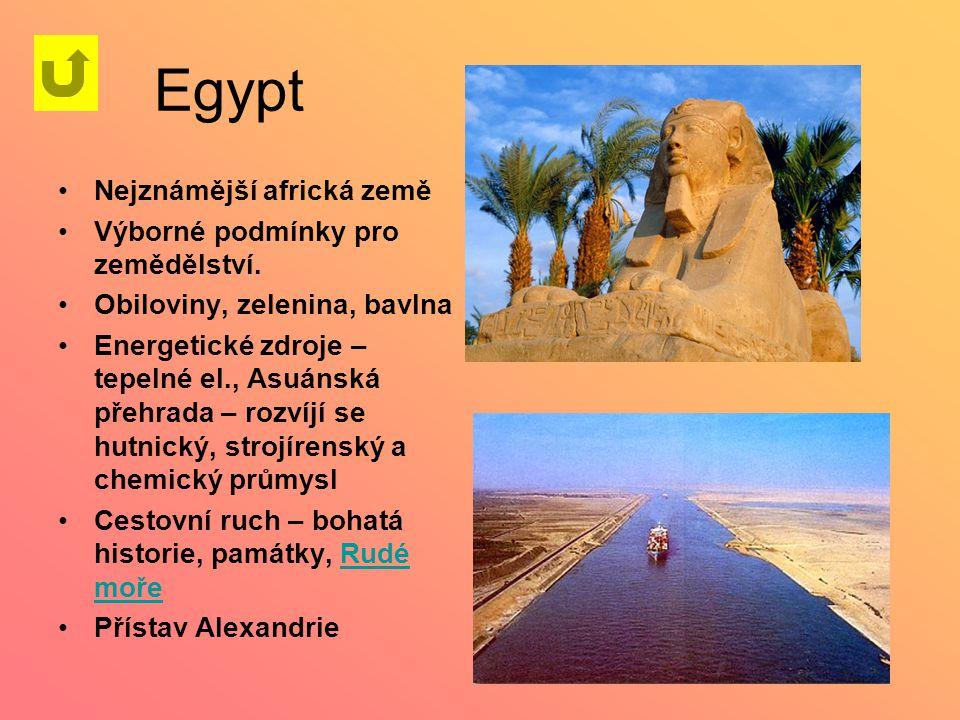 Egypt Nejznámější africká země Výborné podmínky pro zemědělství. Obiloviny, zelenina, bavlna Energetické zdroje – tepelné el., Asuánská přehrada – roz