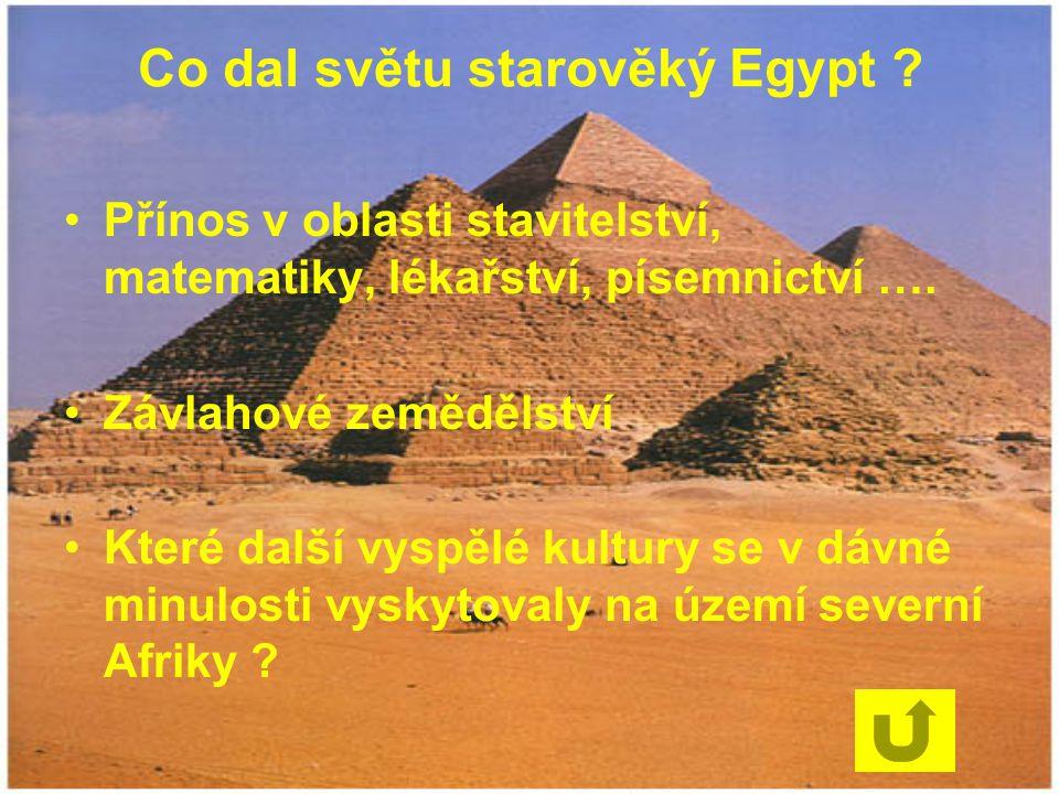 Co dal světu starověký Egypt ? Přínos v oblasti stavitelství, matematiky, lékařství, písemnictví …. Závlahové zemědělství Které další vyspělé kultury