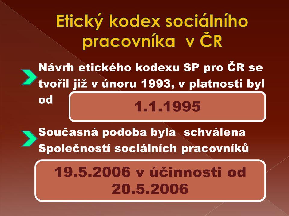 Návrh etického kodexu SP pro ČR se tvořil již v únoru 1993, v platnosti byl od Současná podoba byla schválena Společností sociálních pracovníků 1.1.1995 19.5.2006 v účinnosti od 20.5.2006
