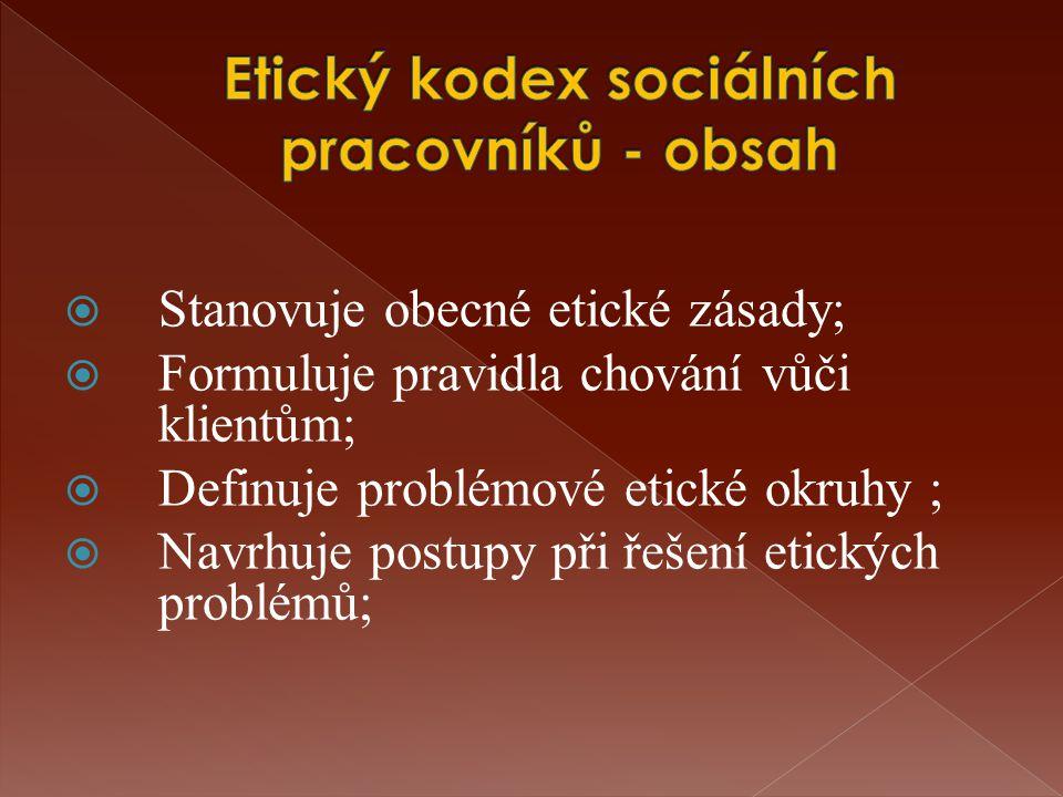  Stanovuje obecné etické zásady;  Formuluje pravidla chování vůči klientům;  Definuje problémové etické okruhy ;  Navrhuje postupy při řešení etických problémů;