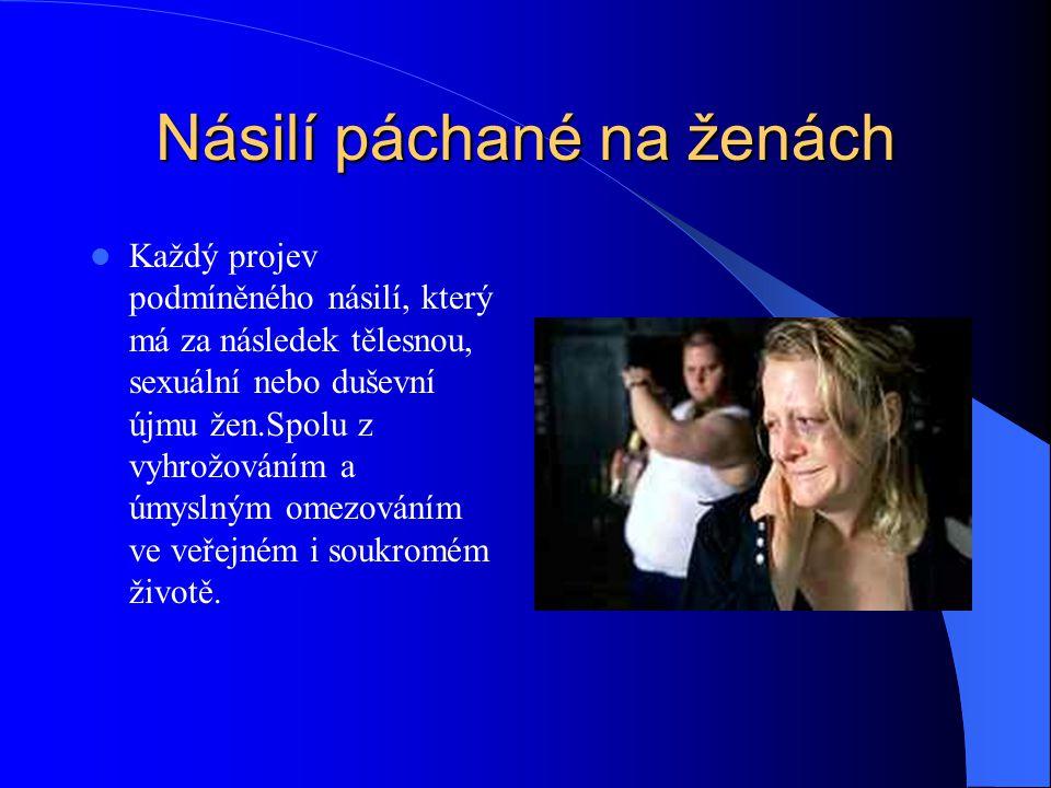 Násilí páchané na ženách Každý projev podmíněného násilí, který má za následek tělesnou, sexuální nebo duševní újmu žen.Spolu z vyhrožováním a úmyslným omezováním ve veřejném i soukromém životě.