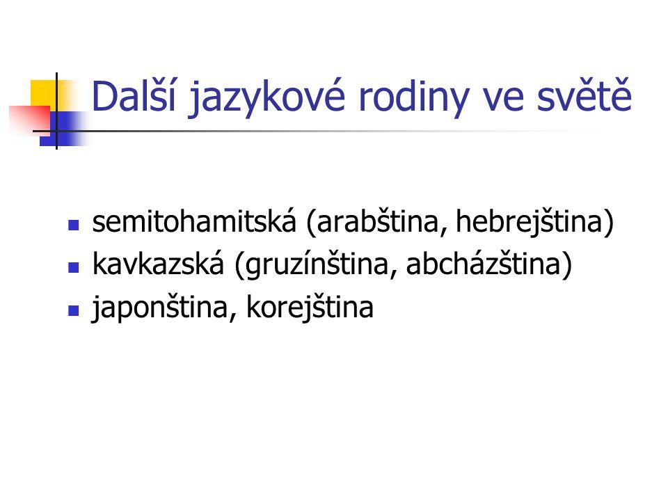 Další jazykové rodiny ve světě semitohamitská (arabština, hebrejština) kavkazská (gruzínština, abcházština) japonština, korejština