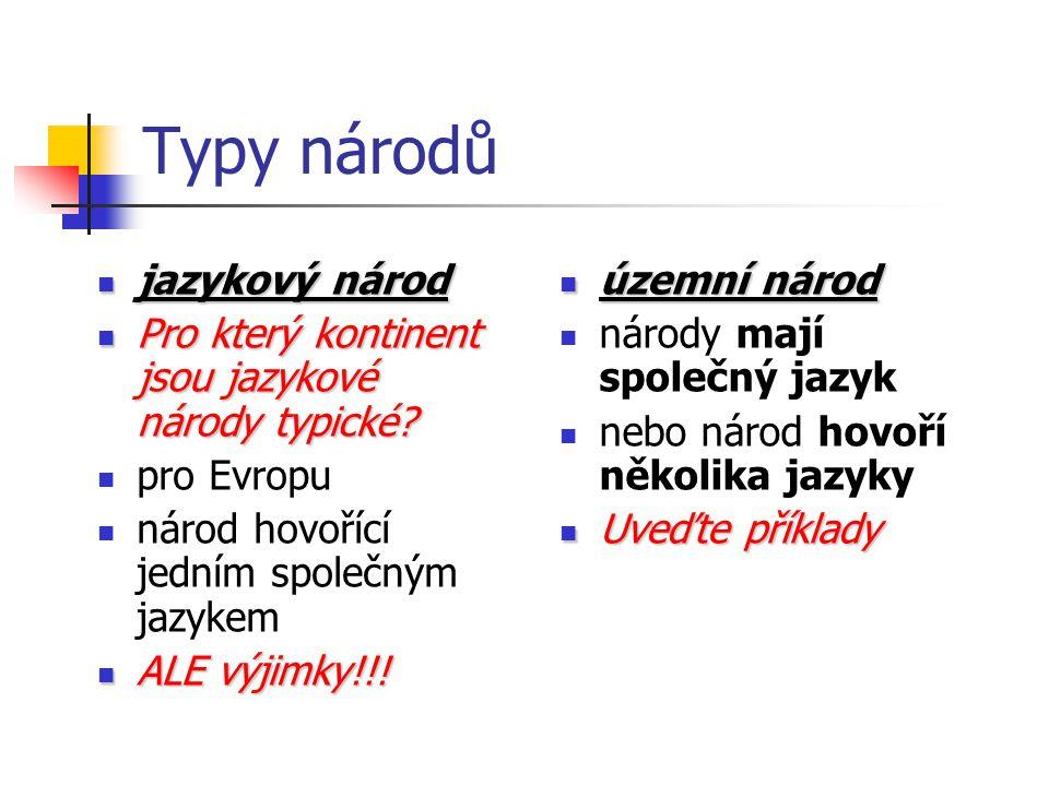 Typy národů jazykový národ jazykový národ Pro který kontinent jsou jazykové národy typické? Pro který kontinent jsou jazykové národy typické? pro Evro