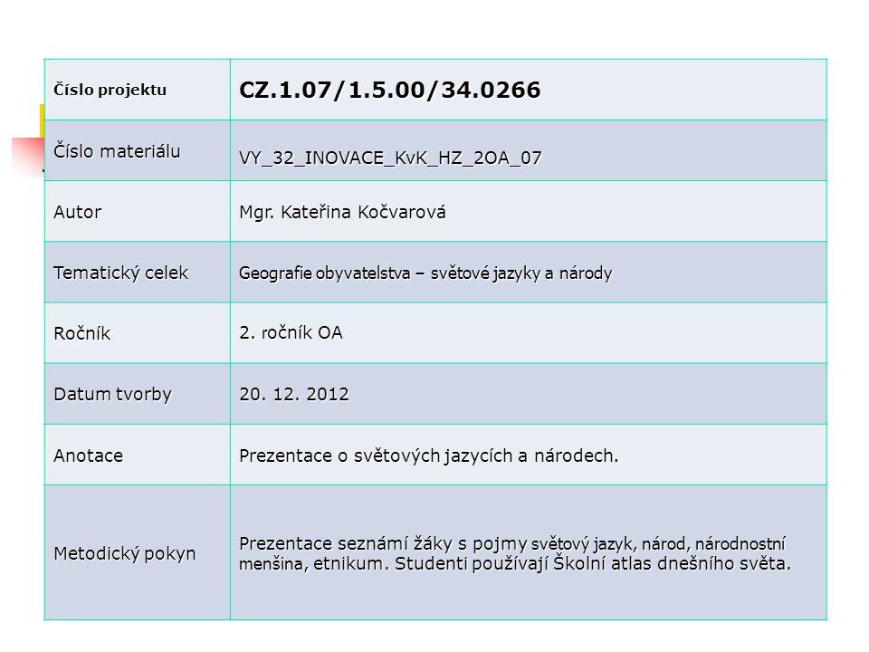Číslo projektu CZ.1.07/1.5.00/34.0266 Číslo materiálu VY_32_INOVACE_KvK_HZ_2OA_07 Autor Mgr. Kateřina Kočvarová Tematický celek Geografie obyvatelstva