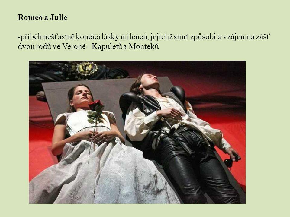 Romeo a Julie -příběh nešťastně končící lásky milenců, jejichž smrt způsobila vzájemná zášť dvou rodů ve Veroně - Kapuletů a Monteků