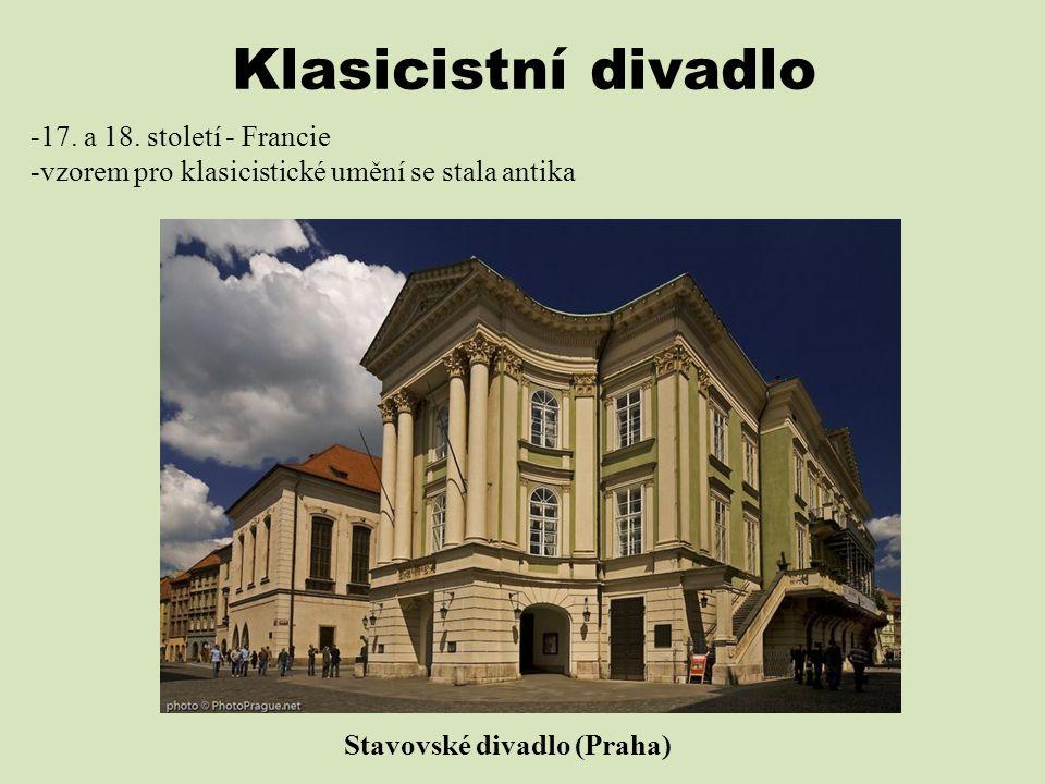 Klasicistní divadlo -17. a 18. století - Francie -vzorem pro klasicistické umění se stala antika Stavovské divadlo (Praha)