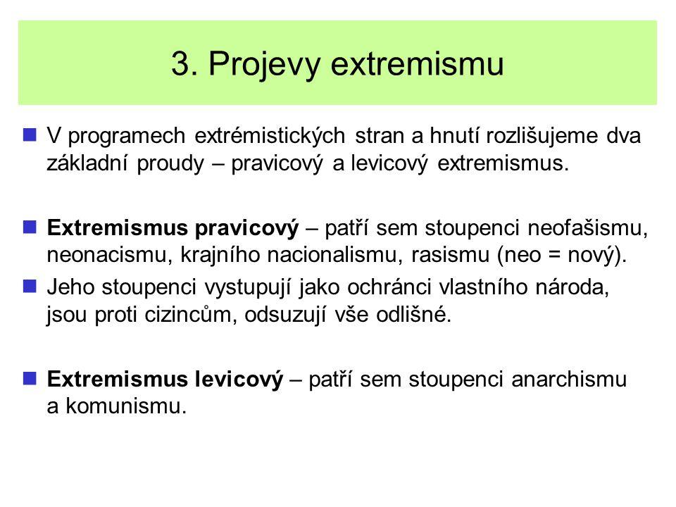 3. Projevy extremismu V programech extrémistických stran a hnutí rozlišujeme dva základní proudy – pravicový a levicový extremismus. Extremismus pravi