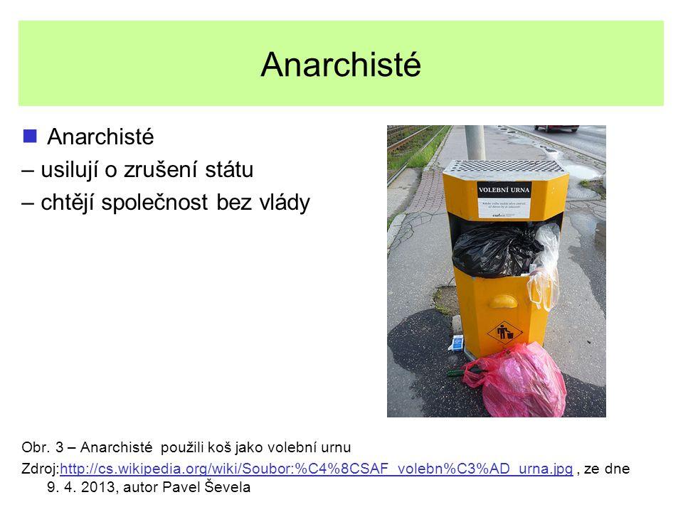 Anarchisté – usilují o zrušení státu – chtějí společnost bez vlády Obr. 3 – Anarchisté použili koš jako volební urnu Zdroj:http://cs.wikipedia.org/wik