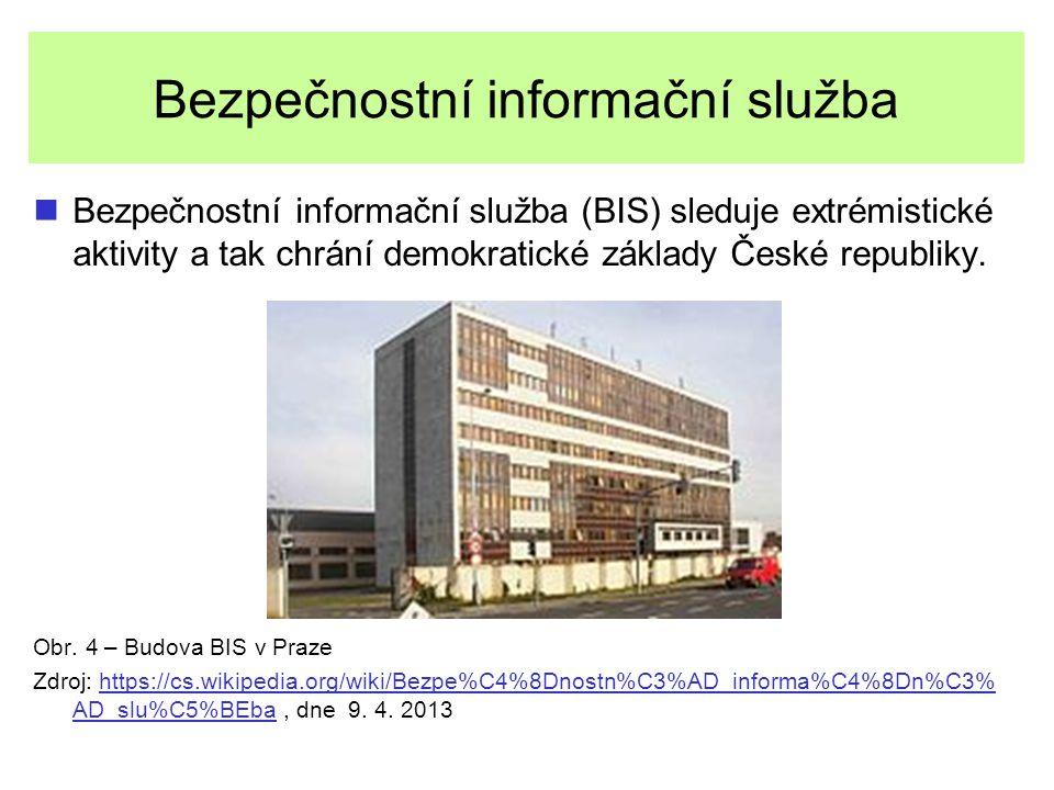 Bezpečnostní informační služba Bezpečnostní informační služba (BIS) sleduje extrémistické aktivity a tak chrání demokratické základy České republiky.