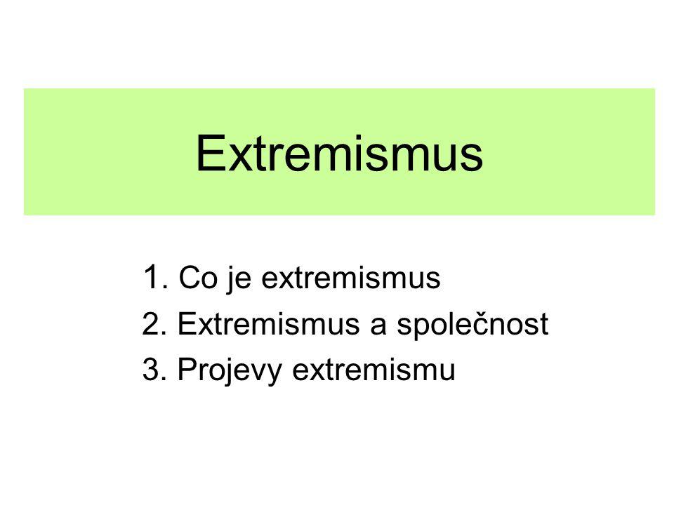 Extremismus 1. Co je extremismus 2. Extremismus a společnost 3. Projevy extremismu