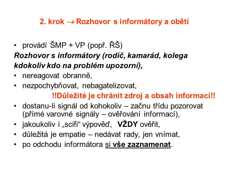 2. krok  Rozhovor s informátory a obětí provádí ŠMP + VP (popř. ŘŠ) Rozhovor s informátory (rodič, kamarád, kolega kdokoliv kdo na problém upozorní),