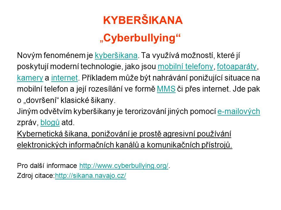 """KYBERŠIKANA """"Cyberbullying"""" Novým fenoménem je kyberšikana. Ta využívá možností, které jíkyberšikana poskytují moderní technologie, jako jsou mobilní"""