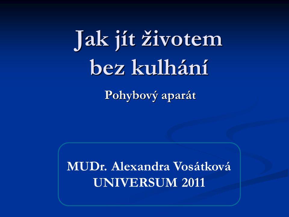 Jak jít životem bez kulhání Pohybový aparát MUDr. Alexandra Vosátková UNIVERSUM 2011