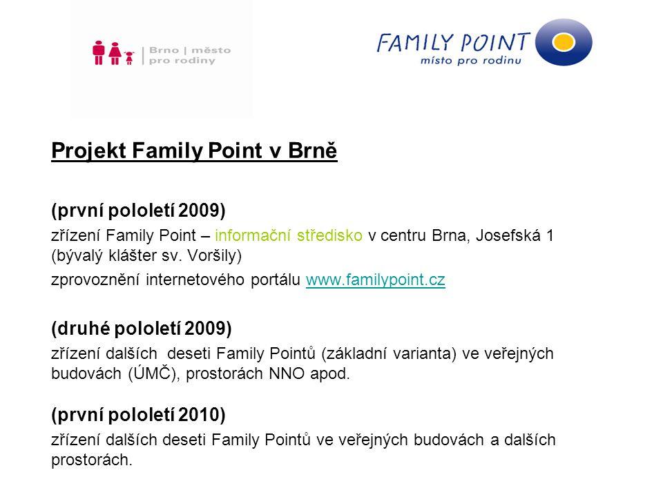 Memorandum o spolupráci v rámci projektu Family Point Obsah dokumentu smluvní strany definice Family Pointu - Family Point je bezbariérové místo přátelské rodině, které poskytuje kultivovaný prostor pro péči o dítě, dětský koutek pro klidovou činnost a informace pro rodiny v oblastech sociální, psychologické a pedagogické pomoci.