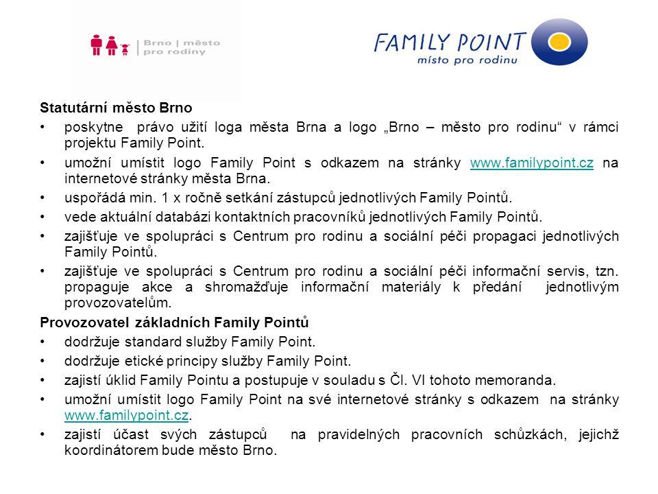 """Statutární město Brno poskytne právo užití loga města Brna a logo """"Brno – město pro rodinu v rámci projektu Family Point."""