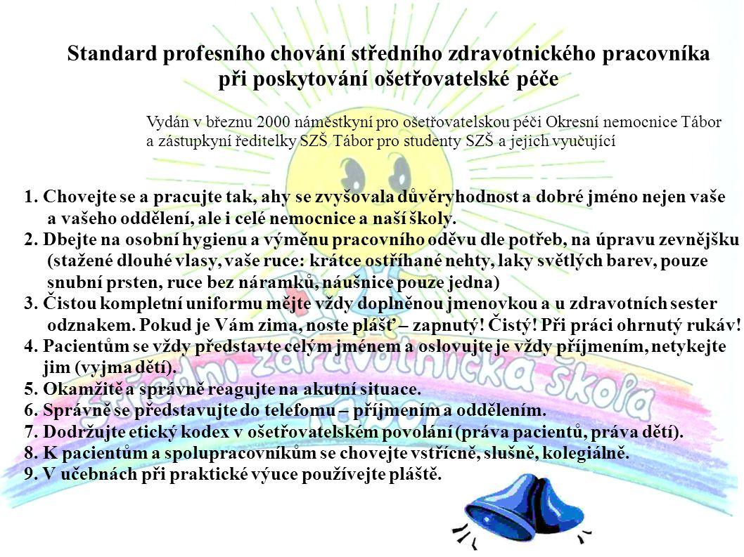 Standard profesního chování středního zdravotnického pracovníka při poskytování ošetřovatelské péče Vydán v březnu 2000 náměstkyní pro ošetřovatelskou péči Okresní nemocnice Tábor a zástupkyní ředitelky SZŠ Tábor pro studenty SZŠ a jejich vyučující 1.