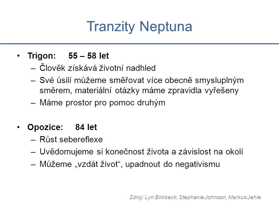 Tranzity Neptuna Trigon: 55 – 58 let –Člověk získává životní nadhled –Své úsilí můžeme směřovat více obecně smysluplným směrem, materiální otázky máme
