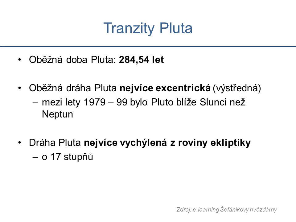 Tranzity Pluta Oběžná doba Pluta: 284,54 let Oběžná dráha Pluta nejvíce excentrická (výstředná) –mezi lety 1979 – 99 bylo Pluto blíže Slunci než Neptun Dráha Pluta nejvíce vychýlená z roviny ekliptiky –o 17 stupňů Zdroj: e-learning Šefánikovy hvězdárny