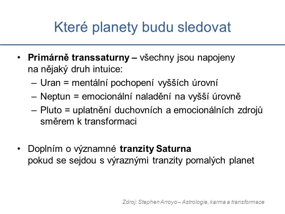 Které planety budu sledovat Primárně transsaturny – všechny jsou napojeny na nějaký druh intuice: –Uran = mentální pochopení vyšších úrovní –Neptun = emocionální naladění na vyšší úrovně –Pluto = uplatnění duchovních a emocionálních zdrojů směrem k transformaci Doplním o významné tranzity Saturna pokud se sejdou s výraznými tranzity pomalých planet Zdroj: Stephen Arroyo – Astrologie, karma a transformace