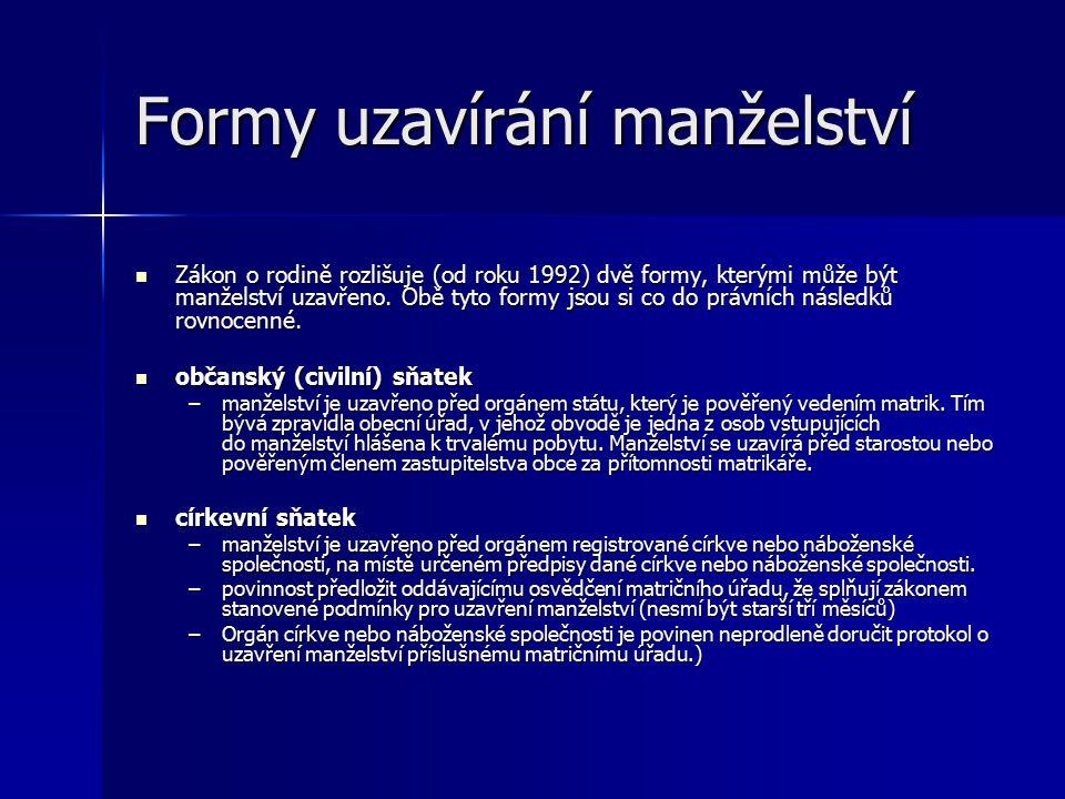Formy uzavírání manželství Zákon o rodině rozlišuje (od roku 1992) dvě formy, kterými může být manželství uzavřeno. Obě tyto formy jsou si co do právn