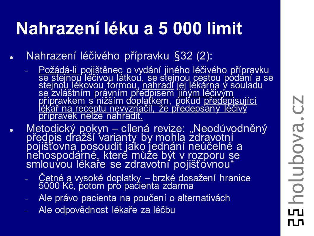 Vyúčtování a limit poplatků Pojištěnci se vystavuje doklad jen na jeho žádost Pojišťovně se vykazuje v rámci vyúčtování poskytnuté zdravotní péče za p