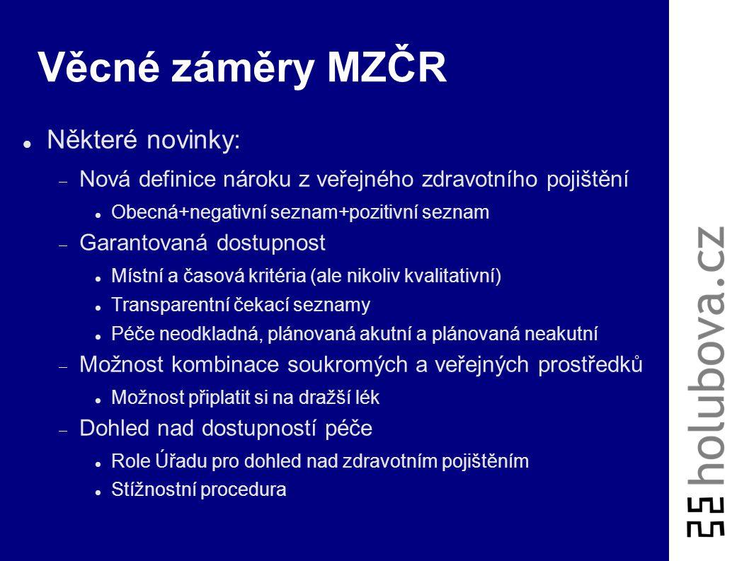Věcné záměry MZČR Balík nových zákonů, účinnost od 2009:  Zákon o zdravotních službách  Zákon o zdravotních pojišťovnách  Zákon o veřejném zdravotn
