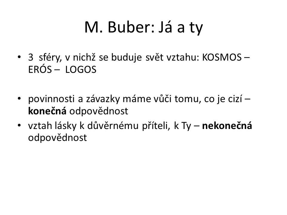M. Buber: Já a ty 3 sféry, v nichž se buduje svět vztahu: KOSMOS – ERÓS – LOGOS povinnosti a závazky máme vůči tomu, co je cizí – konečná odpovědnost